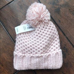 Pink Old Navy knitted cap with puff ball Sz 0-6 Mo